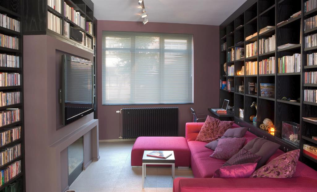 Salon tv et biblioth que en bois fonc greenarch photo n 02 - Decoration bibliotheque murale salon ...