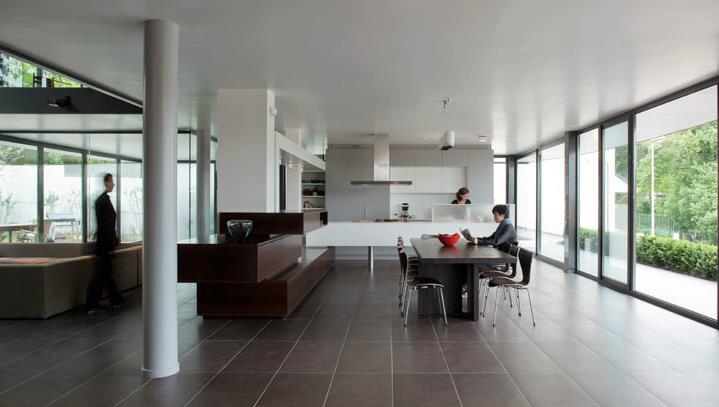 Salle manger ouverte sur le salon et la cuisine frank salama - Salon ouvert sur salle a manger ...