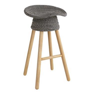 Tabouret de bar Coiled / H 72 cm - Bois & assise