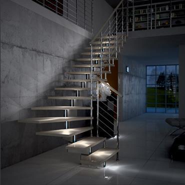 Escalier contemporain en métal et bois