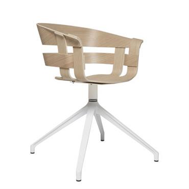 Fauteuil pivotant Wick / Pied central - Design House Stockholm Blanc