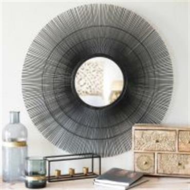 Miroir rond en métal noir D 70 cm DAMARA