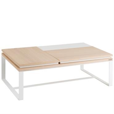 Table basse rectangulaire 2 plateaux relevables Mervent