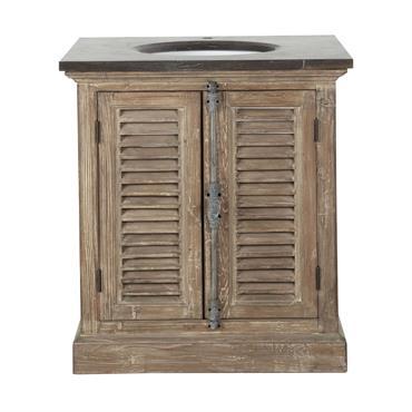 Meuble vasque en bois recyclé et marbre L 80 cm Persiennes