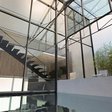 L'intérieur et l'extérieur se mélange subtilement pour mettre en avant une architecture