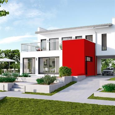 Villa avec murs blancs et un coté de la façade rouge. Terrasse et jardin