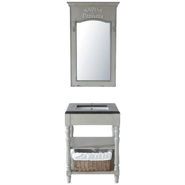 Meuble vasque en bois et marbre gris clair L 65 cm Saint-Rémy