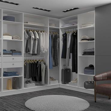 Dressing Room en L (avec un angle) Blanc sur-mesure