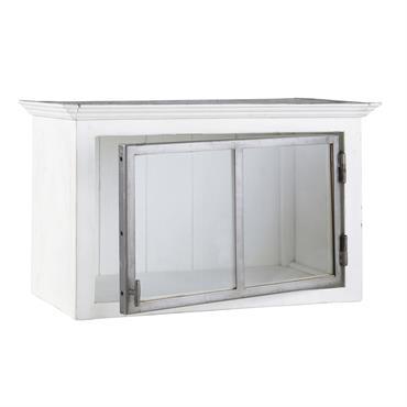 Meuble haut de cuisine ouverture gauche en bois recyclé blanc L 66