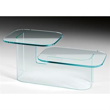 Table basse Paesaggi Side / 2 plateaux - FIAM Transparent en Verre