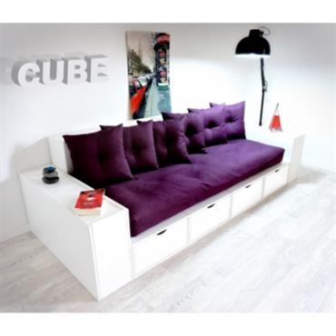 Canapé Cubes Blanc - Tiroirs couleur