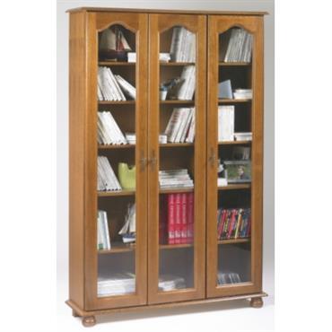 Bibliothèque Cluzel 3 portes teinté chêne