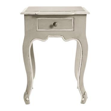 Table de chevet avec tiroir en manguier grise L 40 cm BEAUMANOIR