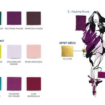 La silhouette et sa planche de couleurs/Ambiance Glamour collection Couture by Dulux Valentine