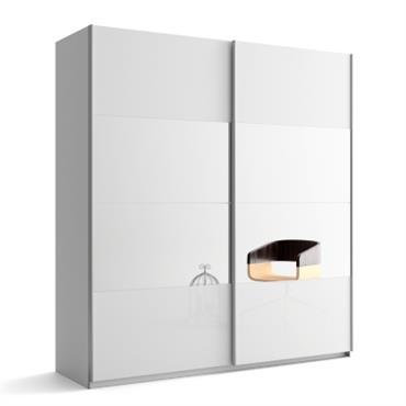 Armoire 2 portes laque/miroir Delphy