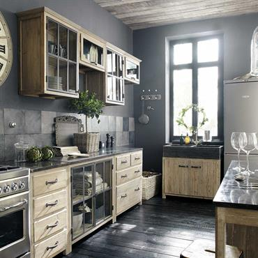 Meuble haut vitré de cuisine ouverture gauche en bois recyclé L 60