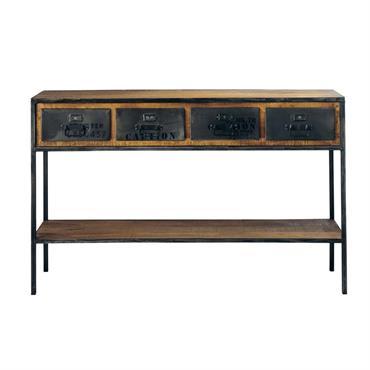 Table console indus en métal et manguier massif noire L 130 cm Manufacture