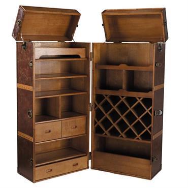 Meuble de bar avec tiroirs en bois et cuir L 60 cm