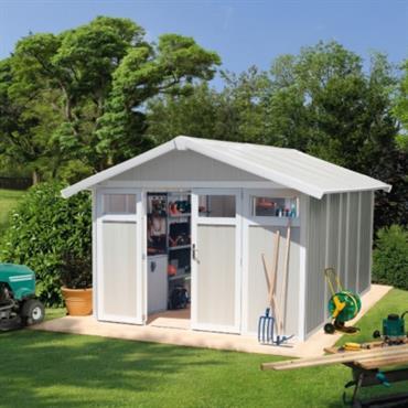 Grosfillex propose ici son plus grand modèle de la gamme dabri de jardin Utility de Grosfillex, le Utility 11.Cet abri de jardin offre 10,6m² de surface utile de rangement, une ...