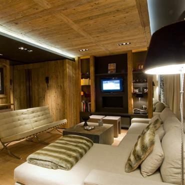 Salons chalets id e d co et am nagement salons chalets domozoom - Interieur chalet moderne ...