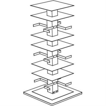 Bibliothèque rotative Opinion Ciatti Design Blanc Métal Base : L 52 cm x l 52 cm - H 110 cm - 3 rayons espacés de 26 cm + 2 rayons ...