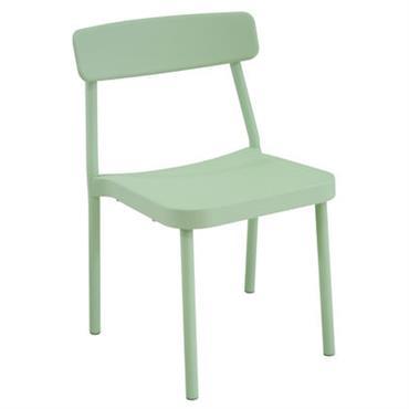 Chaise empilable Emu Design Vert sauge Métal L 52 x Prof. 52 x H 78 cm Le designer Samuel Wilkinson signe pour Emu une collection de mobilier outdoor élégante et ...