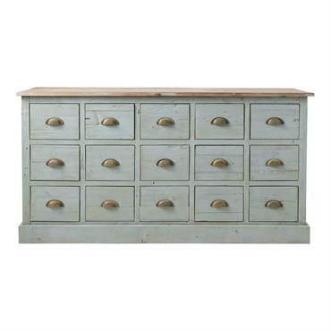 Comptoir multi tiroirs meuble de métier en bois recyclé gris L 165