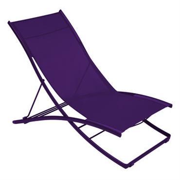 Chaise longue Plein Air / Pliante - 2 positions - Fermob Aubergine
