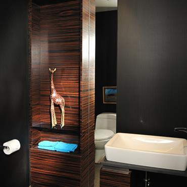 Toilette avec lavabo. Murs de couleur noirs mat et meubles en bois