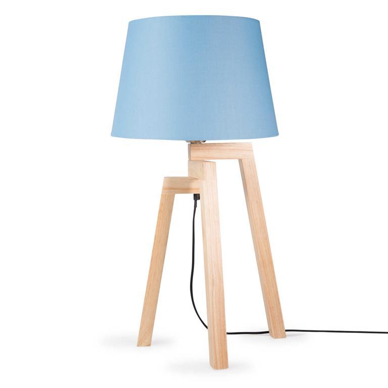 Lampe trépied bois et abat-jour bleu H 50 cm