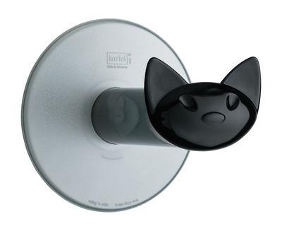 Dérouleur de papier toilette Miaou / Fixation ventouse - Koziol noir opaque