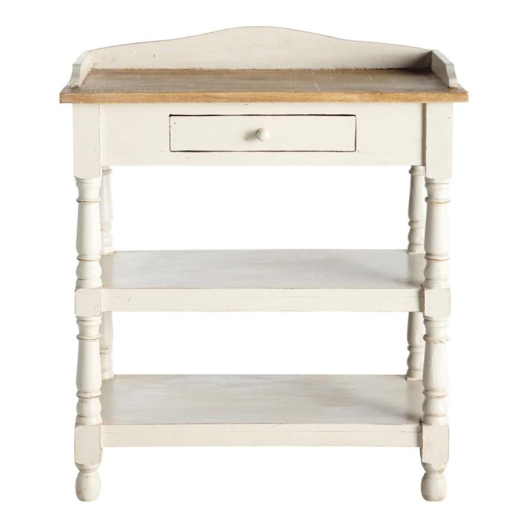 Table console en manguier massif blanche L 77 cm Amélie