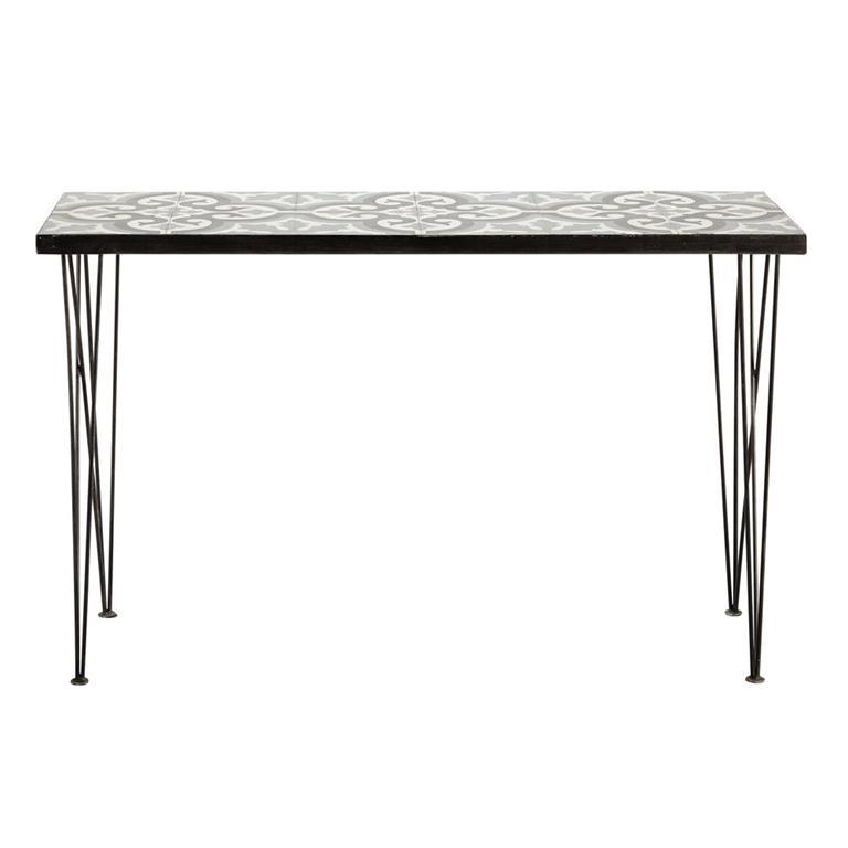 Table console en métal et carreaux de ciment L 120 cm Mosaic