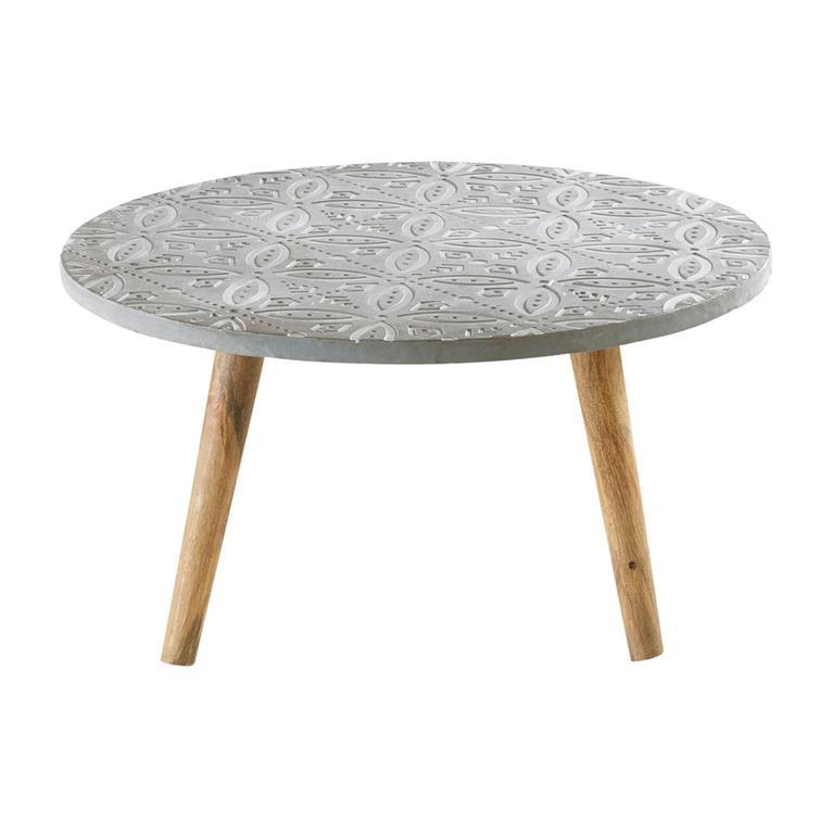 Table basse ronde effet béton motifs blancs Praia