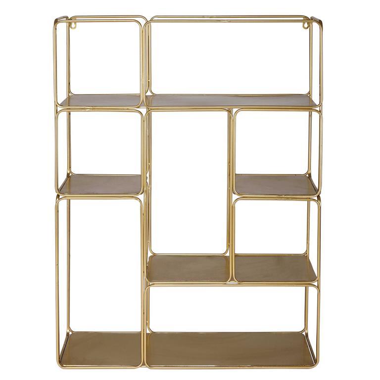 Étagère déstructurée en métal doré