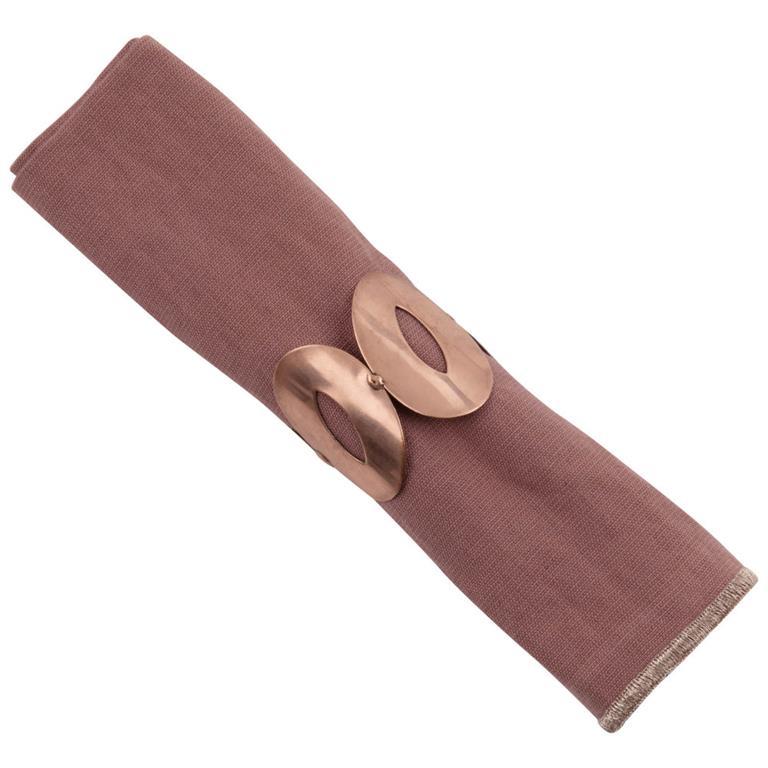 Serviette en coton et lin vieux rose et rond de serviette doré 40x40