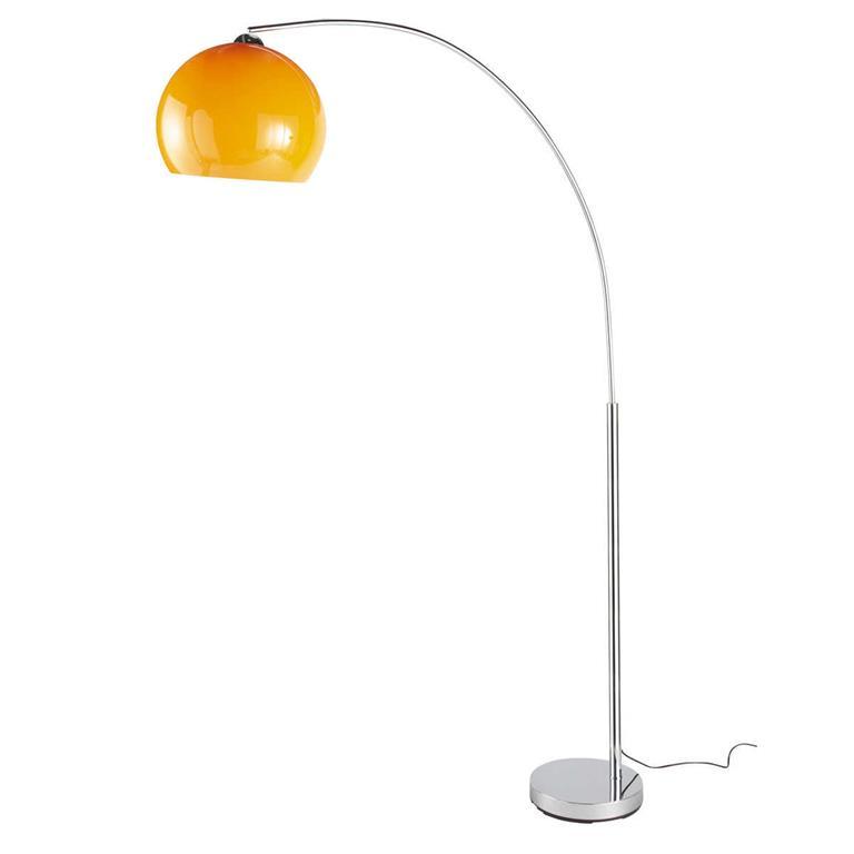 Lampadaire en métal chromé et plastique orange H 206 cm POP