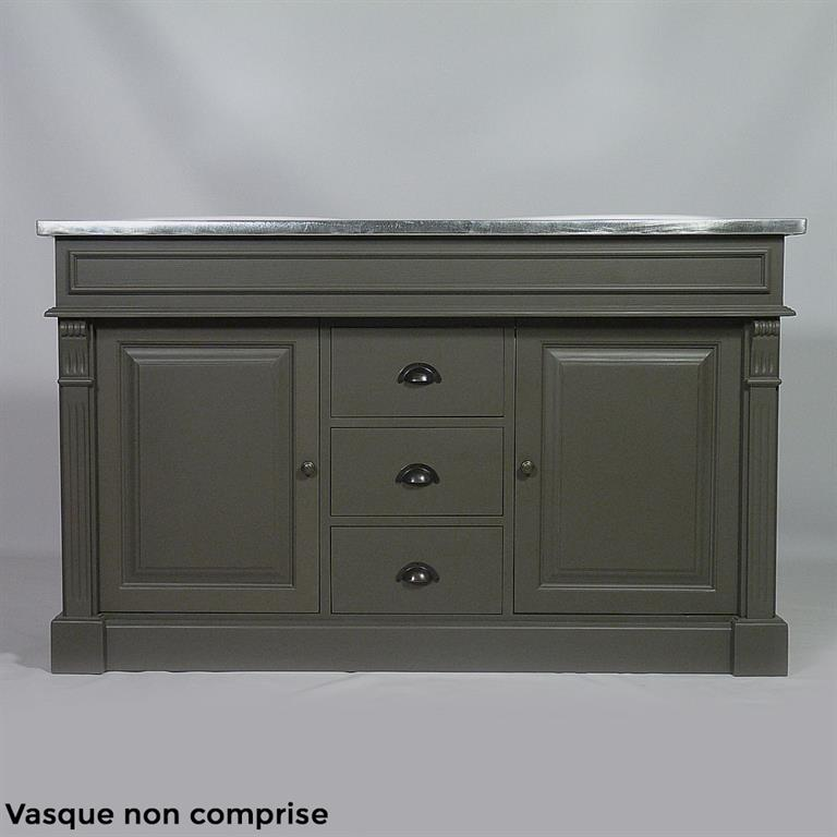Meuble 2 vasques en pin massif n4002z gris fonce for Meuble 2 vasques