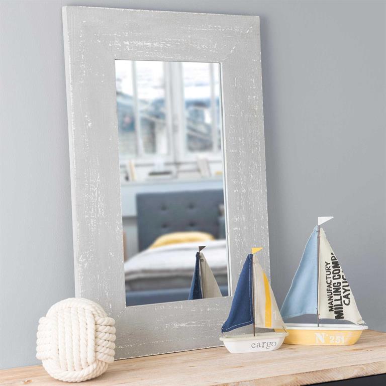 Miroir en bois gris H 76 cm PLESCOP