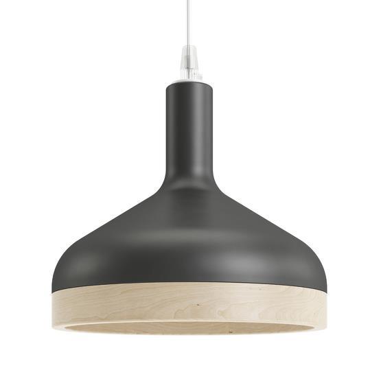 Suspension noire Plera en céramique et bois - Enrico Zanolla