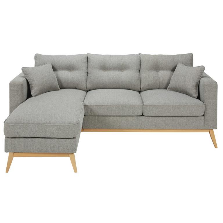 Canapé d'angle modulable style scandinave 4/5 places gris clair Brooke