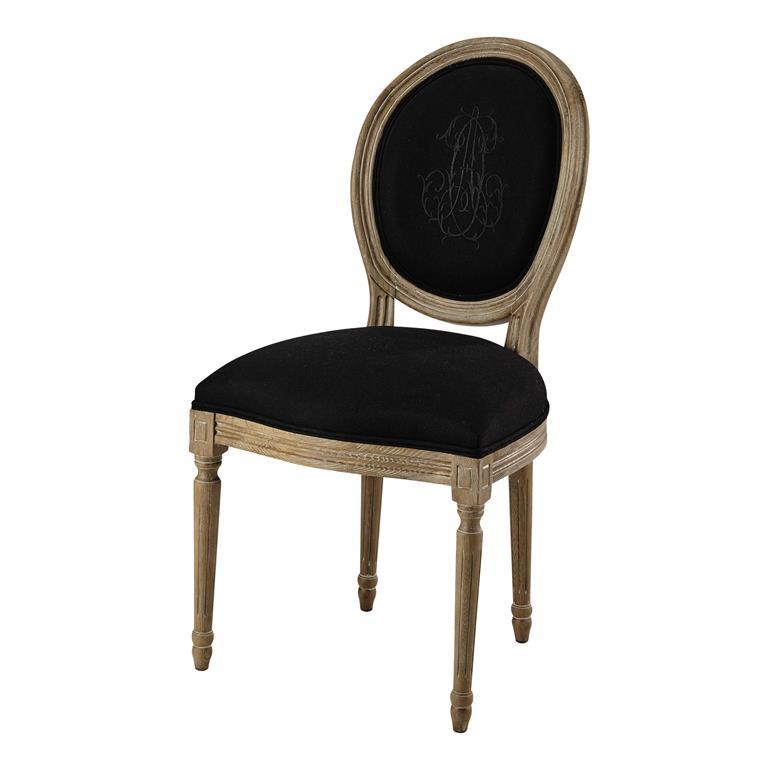 Chaise médaillon en lin noir et chêne grisé Louis