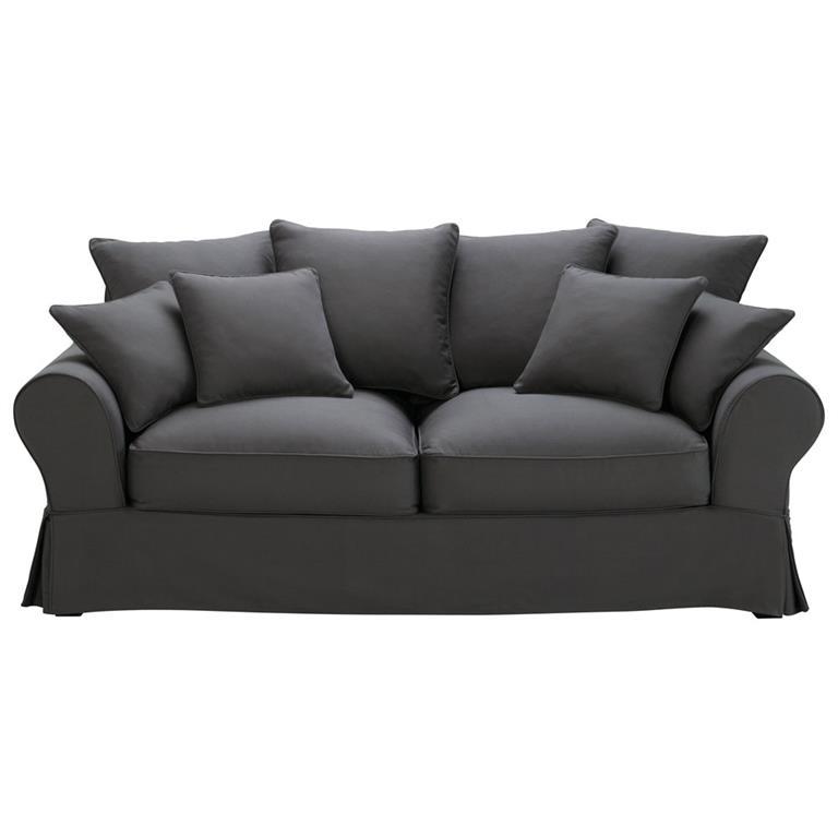 Canapé-lit 3 places en coton gris ardoise Bastide