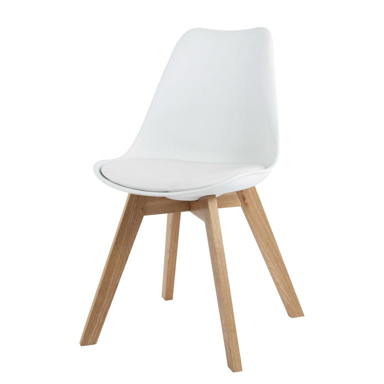 Chaise style scandinave blanche et chêne massif Ice