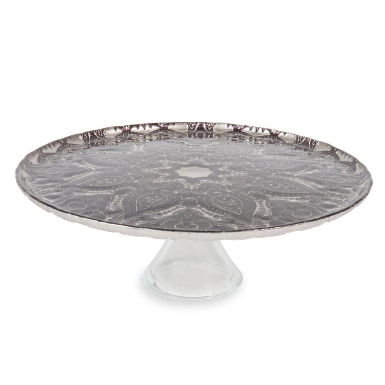 Présentoir à gâteaux sur pied en verre D 33 cm
