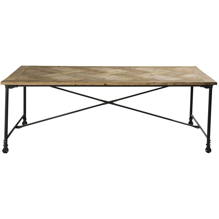 Table à manger en pin recyclé et métal L220 Mirabeau