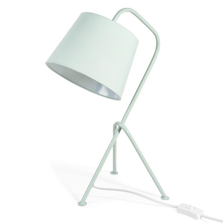Lampe vintage en métal vert pastel H 45 cm