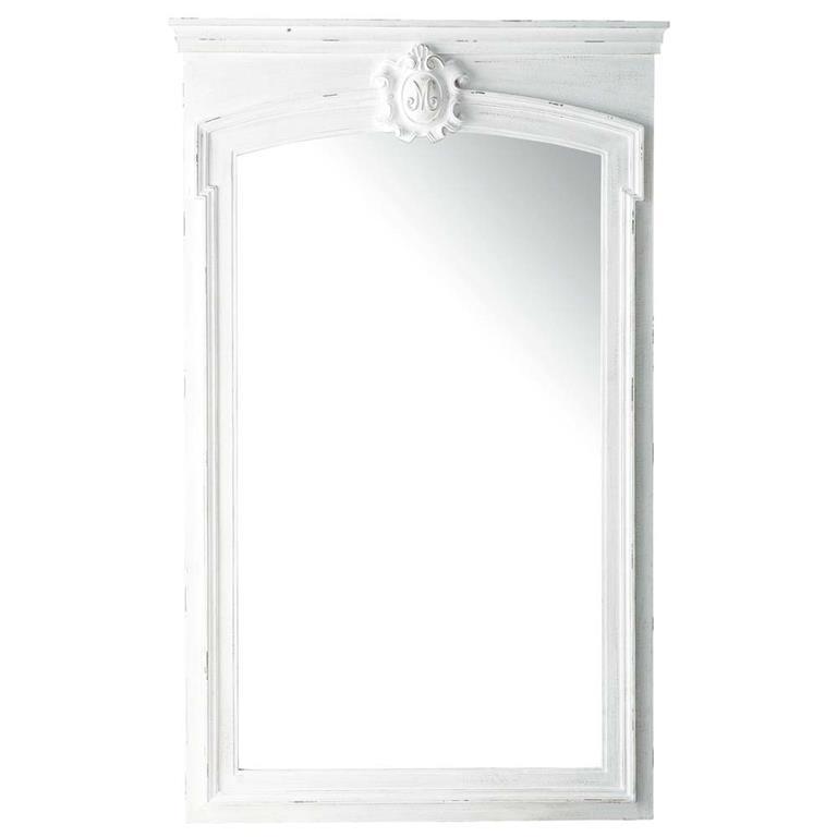 Miroir trumeau en sapin blanc h 160 cm jos phine maisons for Miroir trumeau blanc