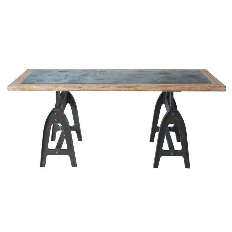 Table à manger aspect métal vieilli 8/10 personnes L200 Metropolitan
