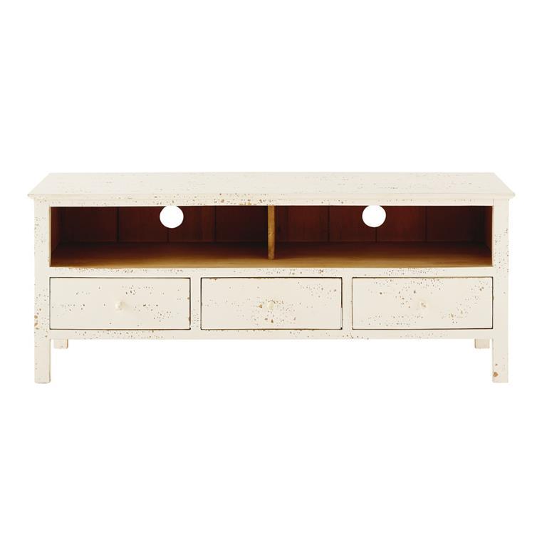 Meuble TV 3 tiroirs en manguier massif blanc Avignon